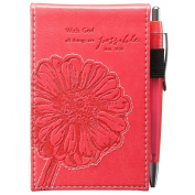 """Pink """"All Things Are Possible"""" Pocket Notepad w/Pen - Matthew 19:26"""