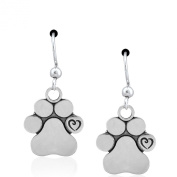 Sterling Silver Dog Paw Print with Scrolled Heart Dangle Earrings