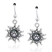 Sterling Silver Sun with Dog Paw Print Dangle Earrings
