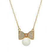 925 Sterling Silver Fancy Everyday GlamourÊBow Necklace Rose Gold Plated With Freshwater Cultured Pearl Pendant,ÊPearl on Fashion CZ Neacklace 46cm Chain