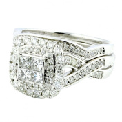 1cttw Diamond Wedding Ring Princess Cut With Double Halo and Woven Sides 2pc Set 10K White Gold