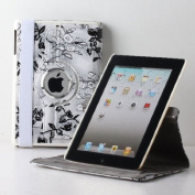 TCD for Apple iPad Air 2 [iPad 6] Fancy PU Leather Case LIFETIME WARRANTY Stand [WHITE] w/ Black Stencil Flower Design [360 Rotation] Case Cover Stand [Auto Wake/Sleep Feature]