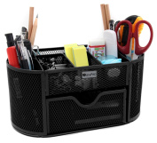 EasyPAG Black Metal Wire Mesh 9 Compartment Office School Supply Desktop Organiser Caddy with Drawer