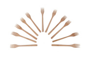 Wooden Fork - Brown Sturdy Long Handle Wooden Cooking Kitchen Utensil - 12 Piece Set