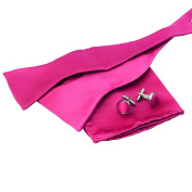 EBB1E01 Best Gift Giving Solid Silk Bow Tie Hanky Cufflinks for Mens By Epoint