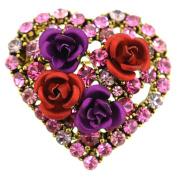 Rose Flower Heart Pin Brooch
