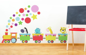 Jungle animals train wall sticker by Stickerscape - Tiger, Giraffe, Hippo, Zebra - Transport - Removable - wall decal - wall graphic - wall decal