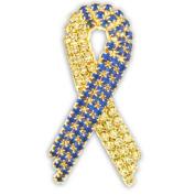 Rhinestone Down Syndrome Awareness Ribbon Brooch Pin