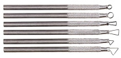 Kemper Miniature Ribbon Sculpting Tool Set, 0.6cm X 13cm , Aluminium Handle, Steel, Silver, Set of 6