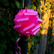 Hot Pink Fuchsia Pull Bows - 20cm Wide, Set of 6, Breast Cancer Awareness Ribbon