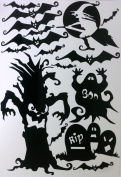 Halloween Window Cling set of Bats, Spooky Tree, Tombstones and More