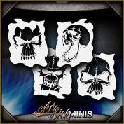 Mini Skulls 1 Set AirSick Airbrush Stencil Template
