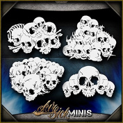 Mini Skull Background 3 AirSick Airbrush Stencil Template