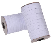Cotowin 1.3cm White Braided Polyester Elastic Roll - 50 Yards