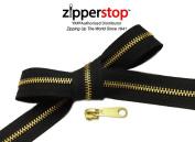 ZipperStop Distributor YKK® Zipper Repair Kit Solution, #5 Brass Metal Zipper Chain 15 Yards Colour Black Choice of 12 Pulls of YKK® #5 Brass Slider Made in USA