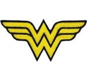 Wonder Woman Iron On Patch - WW Yellow Letter Name Logo Applique