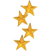Wrights Iron-On Appliques-Yellow Stars 2.5cm - 0.6cm 4/Pkg