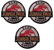 JURASSIC PARK Park Ranger 7cm Diameter SET OF 3 Embroidered PATCHES