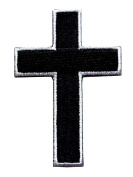 Black & White Cross Motorcycles Biker Embroidered Iron on Patch.