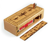 Dragonfly- Dragonflies Engraved Wooden Cribbage Board with Quality Metal Pegs and Deck of Cards