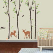 Giant Wall Sticker Decals - Birch Tree Forest with Deers and Flying Birds Baby