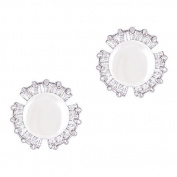 18k Gold Plated White Shell Pearl with Cubic Zirconia Petal Stud Earrings
