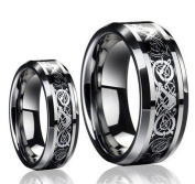 His & Her's 8MM/6MM Tungsten Carbide Celtic Knot Dragon Design Carbon Fibre Inlay Wedding Band Ring Set