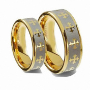 Men & Ladie's 8MM/6MM Flat Gold Plated with Celtic Crosses Tungsten Carbide Wedding Band Ring Set
