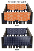 Baby Crib Side Rail Guard Covers for Orange and Navy Arrow Bedding Collection