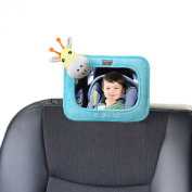 Car Baby Mirror (GIRAFFE) - Best for Back Seat Rear Facing Child View - Premium Shatterproof Mirrors, Drive Safe & See Infant - Great Auto Accessories Gift, Vehicle Toy - 100% Satisfaction Guaranteed!