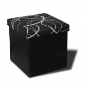 Otto & Ben 38cm Swirl Design Memory foam Seat Folding Storage Ottoman Bench with Faux Leather, Black