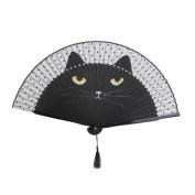 Tinksky Women Cartoon Cat Folding Silk Fan Handheld Fan