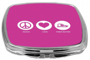 Rikki Knight Peace Love Firefighter Design Compact Mirror, Rose Pink, 60ml