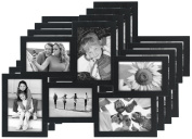 Malden International Designs Crossroads 6-Opening Puzzle Collage Picture Frame for 8.9cm x 13cm and 10cm x 15cm Photos (Pack of 4), Black