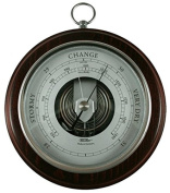 Fischer Instruments 1436RS-22 17cm Open Face Wood and Brass Barometer, Silver