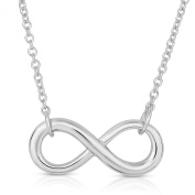 Rhodium Plated 925 Sterling Silver Classic Infinity Shape Symbol Plain Silver Chain Necklace,46cm