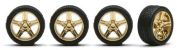 Pegasus Gold Belagio Rims with Tyres 1:24 Scale