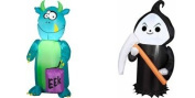Gemmy Airblown Inflatable Small Outdoor Halloween 3 Eyed Monster & Reaper Kid Friendly 1.1m Tall