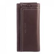 Teemzone Men's Genuine Leather Receipt Holder Fashion Cash Holder Wallet