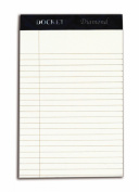TOPS Docket Diamond 100% Recycled Premium Stationery Tablet, 13cm x 20cm , Perforated, Ivory, Narrow Rule, 50 Sheets per Pad, 4 Pads per Pack
