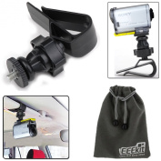 EEEKit Car Drive Mount Holder Accessories Kif for Sony Action Video Camera Cam HDR-AS15 HDR-AS20 HDR-AS30V HDR-AS100V HDR-AZ1 Mini Sony FDR-X1000V/W 4K Action Cam HDR AS20 AS100V AS30V AS15 AZ1 Mini, Sony Action Cam Car Sun Visor Mount + EEEKit Pouch