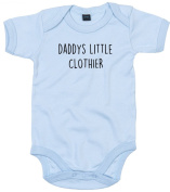 Clothier Baby Body Suit Daddys little Newborn Babygrow Blue with Black Print 9-12 months