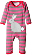 Toby Tiger Baby-Girls SLARABBIT Striped Round Collar Long Sleeve Romper