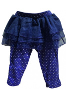 Baby Girls Leggings With Tutu Skirt In Blue With White Polka Dots