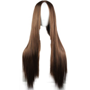 Rise World Wig 75cm Brown Two Tone Long Straight Anime Cosplay Wigs Heat Resistant Hair Wig