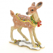 Christmas Reindeer Deer . Crystal Jewelry Trinket Box