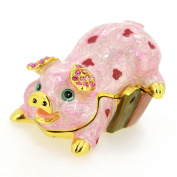 Spotted Pink Pig . Crystal Jewelry Trinket Box