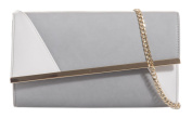 Girly HandBags Womens Faux Leather Asymmetric Clutch Bag Two Tone Frame Evening Party Prom Bag
