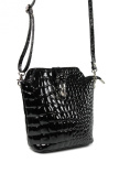Belli ® Quality Italian Leather Handbag Shoulder Bag Black with Patent Croc embossing - 18 CM x 20 CM x 8 CM