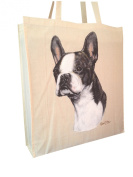 Boston Terrier RM Reusable Cotton Shopping Bag Tote with Spacious Gusset and Shoulder Length Handles Perfect Gift